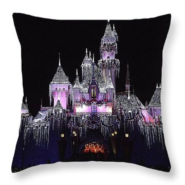 Christmas Castle Night Throw Pillow by Nadalyn Larsen