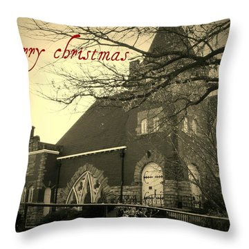 Christmas Chapel Throw Pillow