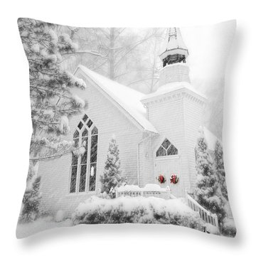 Historic Church Oella Maryland - Christmas Card Throw Pillow
