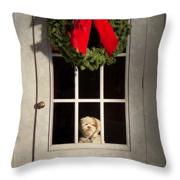 Christmas - Clinton Nj - Christmas Puppy Throw Pillow by Mike Savad