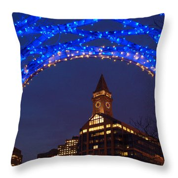 Christmas Coluimbus Park Boston Throw Pillow