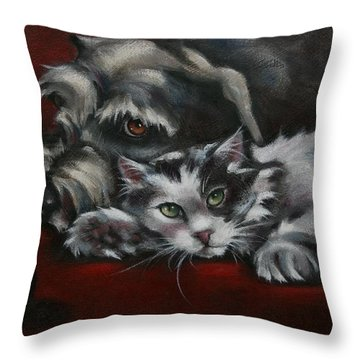 Throw Pillow featuring the painting Christmas Companions by Cynthia House