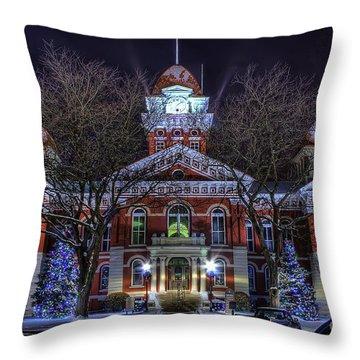Christmas Courthouse Throw Pillow