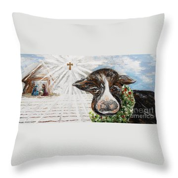 Christmas Cow - Oh To Have Been There... Throw Pillow by Eloise Schneider
