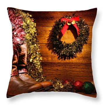 Christmas Cowboy Boots Throw Pillow by Olivier Le Queinec