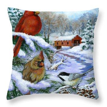 Christmas Creek Throw Pillow by Richard De Wolfe