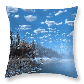 Christmas Day At Moose Lake Throw Pillow by Ken Morris