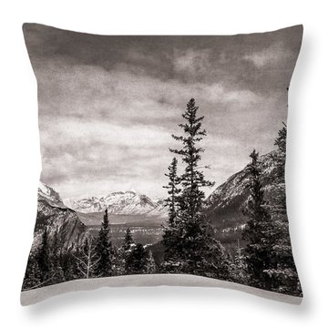 Christmas Day In Banff Bw Throw Pillow