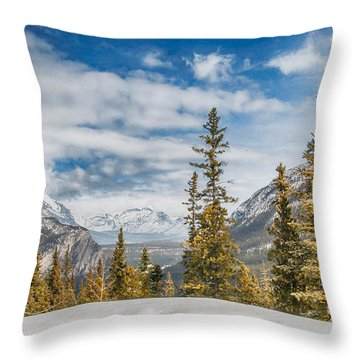 Christmas Day In Banff Throw Pillow