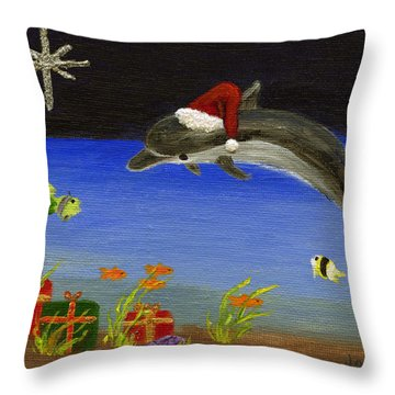 Christmas Dolphin And Friends Throw Pillow by Jamie Frier