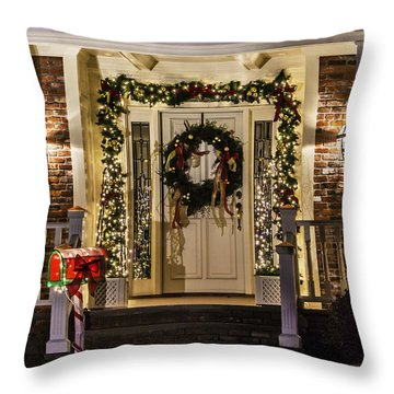 Throw Pillow featuring the photograph Christmas Door 1 by Betty Denise