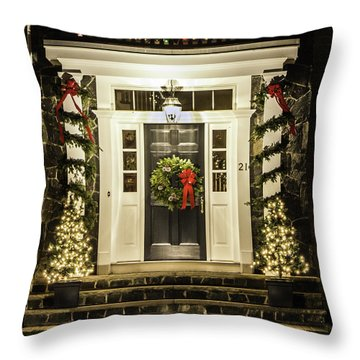 Throw Pillow featuring the photograph Christmas Door 2 by Betty Denise