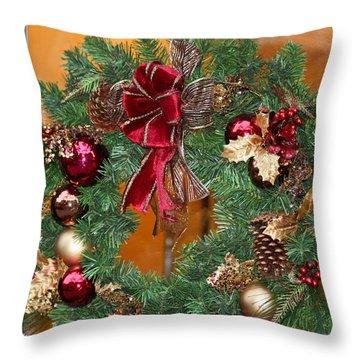 Throw Pillow featuring the photograph Christmas Door Wreath by Ann Murphy