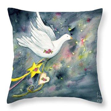 Christmas Dove In Flight Throw Pillow