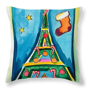 Christmas Eiffel Tower Painting Throw Pillow