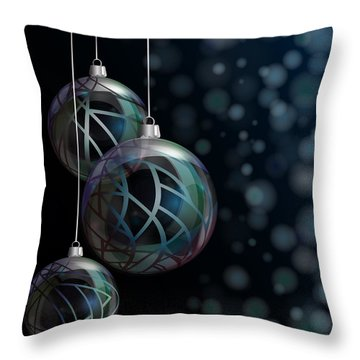 Christmas Elegant Glass Baubles Throw Pillow by Jane Rix