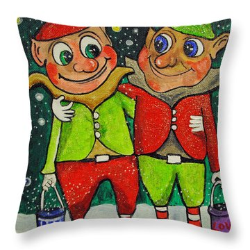 Christmas Elves Throw Pillow by Patricia Arroyo