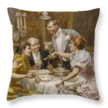 Christmas Eve Dinner In The Private Dining Room Of A Great Restaurant Throw Pillow