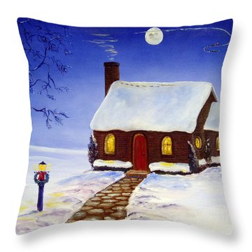 Throw Pillow featuring the painting Christmas Eve by Lee Piper