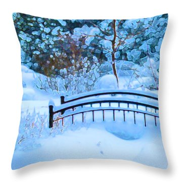 Christmas Eve Storm And The Little Garden Bridge Throw Pillow