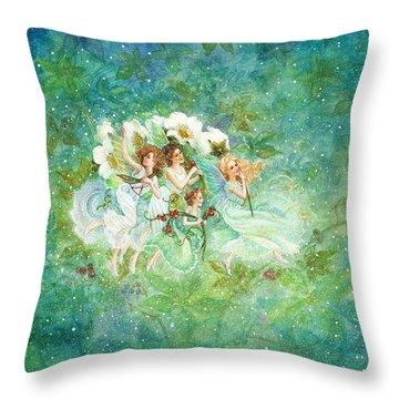 Christmas Fairies Throw Pillow