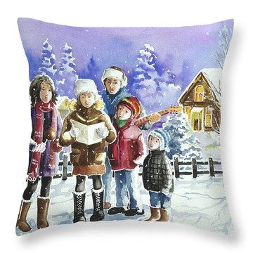 Christmas Family Caroling Throw Pillow