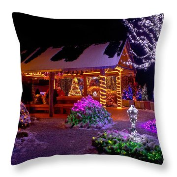 Christmas Fantasy Lodge And Tree Lights Throw Pillow by Brch Photography