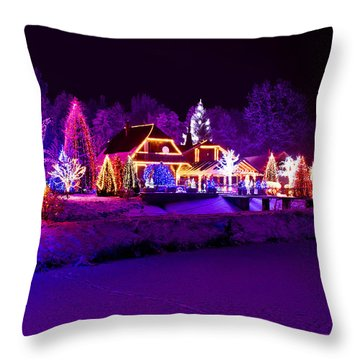 Christmas Fantasy Park Forest Lodge In Xmas Lights Throw Pillow by Brch Photography