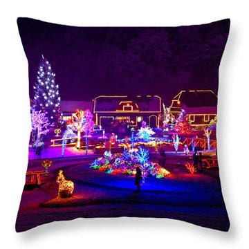 Christmas Fantasy Trees And Houses In Lights Throw Pillow by Brch Photography