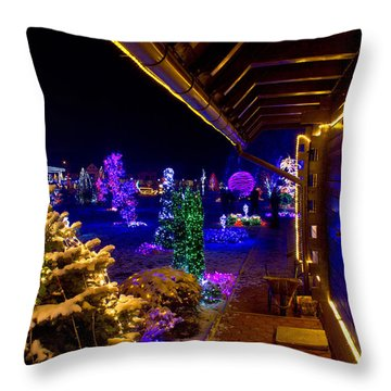 Christmas Fantasy Trees And Wooden House In Lights Throw Pillow by Brch Photography