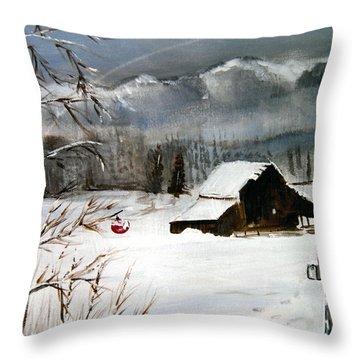 Christmas Farm House Throw Pillow