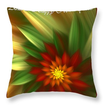 Christmas Flower Throw Pillow by Svetlana Nikolova
