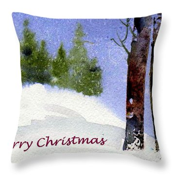 Throw Pillow featuring the painting Christmas Forest 02 by Anne Duke