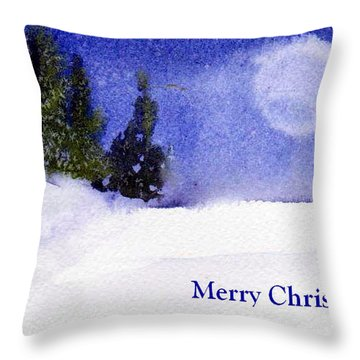 Throw Pillow featuring the painting Christmas Forest  03 by Anne Duke