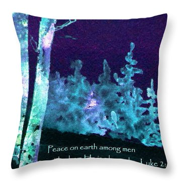 Throw Pillow featuring the painting Christmas Forest by Anne Duke