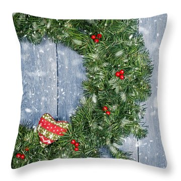 Christmas Garland Throw Pillow by Amanda Elwell