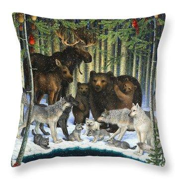 Christmas Gathering Throw Pillow