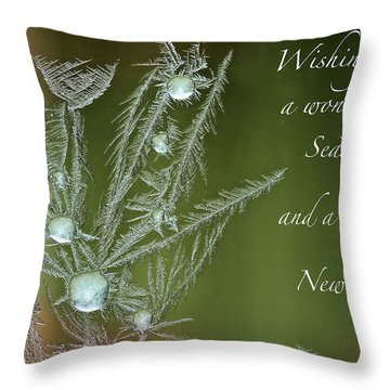 Throw Pillow featuring the mixed media Christmas Greeting Card Ice Flowers by Peter v Quenter