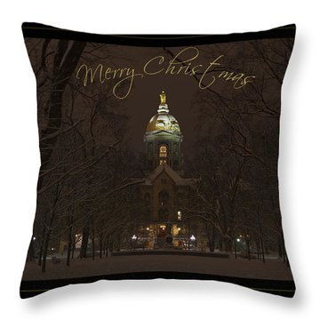 Christmas Greeting Card Notre Dame Golden Dome In Night Sky And Snow Throw Pillow