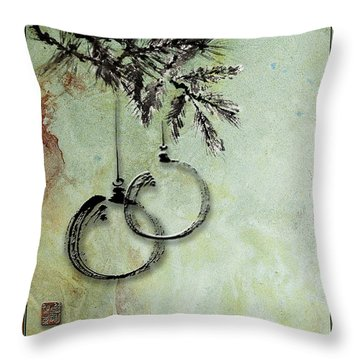 Throw Pillow featuring the painting Christmas Greeting Card With Ink Brush Drawing by Peter v Quenter