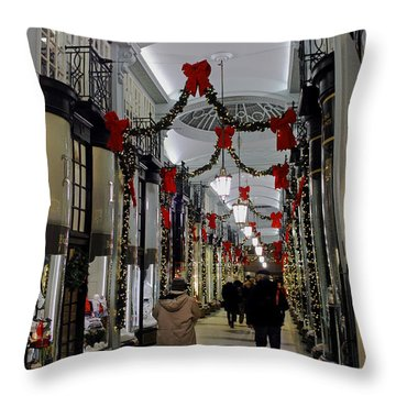 Christmas In Piccadilly Arcade Throw Pillow
