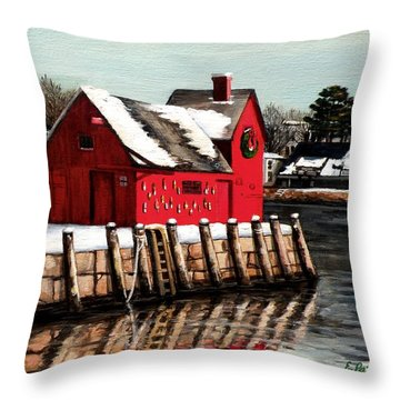 Christmas In Rockport Throw Pillow by Eileen Patten Oliver