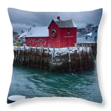 Christmas In Rockport Massachusetts Throw Pillow