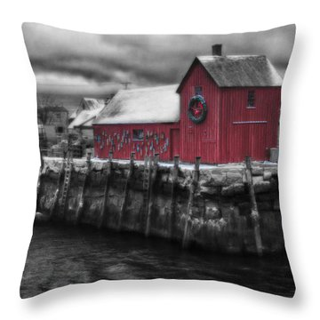 Christmas In Rockport New England Throw Pillow by Jeff Folger
