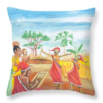 Throw Pillow featuring the painting Christmas In Rwanda by Emmanuel Baliyanga