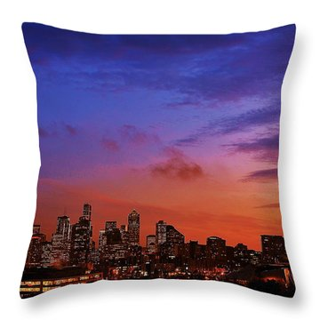 Christmas In Seattle Throw Pillow by Benjamin Yeager