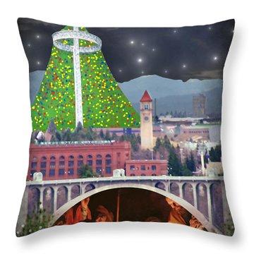 Christmas In Spokane Throw Pillow