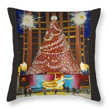 Christmas In The City Throw Pillow by Donna Blossom