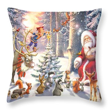 Christmas In The Forest Throw Pillow by Zorina Baldescu