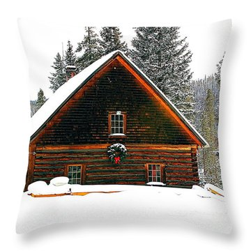 Christmas In The Rockies Throw Pillow
